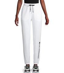 karl lagerfeld paris women's logo jogging pants - white black - size xl
