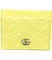 gucci gg marmont leather wallet on chain yellow sz: m