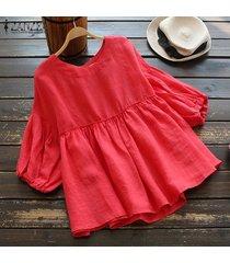 s-5xl zanzea camisa de manga de linterna para mujer tops cuello redondo casual blusa lisa plus -rojo
