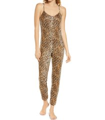 women's masongrey lounge jumpsuit, size large - brown