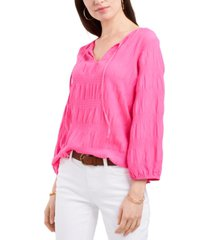 vince camuto smocked 3/4-sleeve top