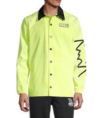 puma men's back-print coach jacket - yellow - size s