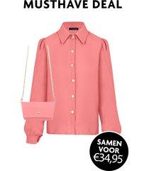 musthave deal blouse + mini bag dust roze