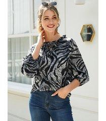 yoins blusa holgada con drapeado de leopardo y ribete negro