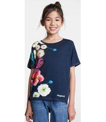 floral print t-shirt - blue - 11/12