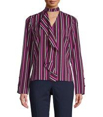 derek lam 10 crosby women's striped cut-out top - mulberry - size 4