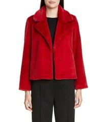 women's st. john collection faux beaver fur coat, size large - red