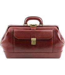 tuscany leather tl141298 bernini - esclusiva borsa medico in pelle marrone