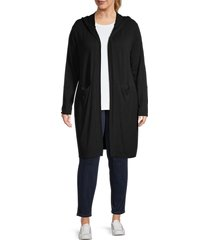 marc new york performance women's plus hooded duster - black - size 1x (14-16)