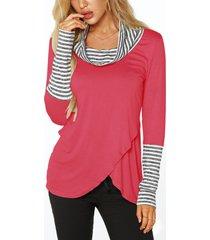 rose roll cuello camisetas con superposición en la parte delantera con detalles de rayas