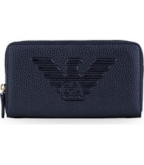 emporio armani blue zip wallet