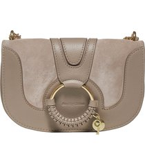 see by chloé hana evening leather and suede shoulder bag