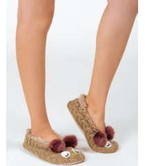 fuzzy knit slipper socks - cream