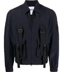 y-3 strap-embellished seersucker bomber jacket - blue