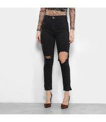 calça jeans cigarrete my favorite thing (s) destroyed cintura alta feminina