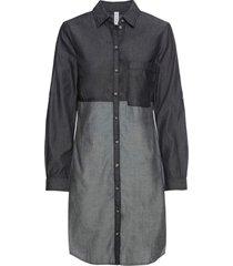 abito chemisier in jeans bicolore (nero) - rainbow