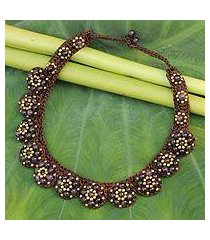 amethyst beaded flower necklace, 'daisy melody' (thailand)
