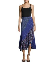 robert graham women's riley mixed-print skirt - navy - size 10