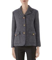 women's gucci square g logo wool blend jacket