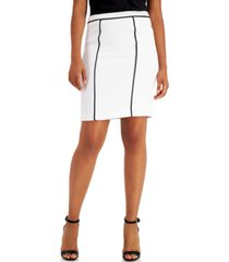 calvin klein petite contrast-piped pencil skirt