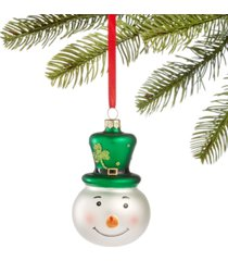 holiday lane irish molded glass snowman head with green top hat ornament, created for macy's