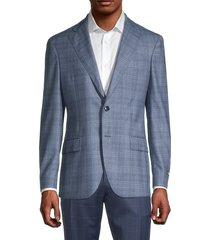 lubiam men's standard-fit windowpane virgin wool jacket - light blue - size 58 (48)