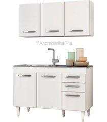 armário aéreo honduras e balcão gabinete pia inox suécia 120cm branco - lumil móveis
