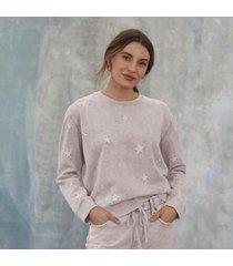 sundance catalog women's marbeled star sweatshirt in gray xs
