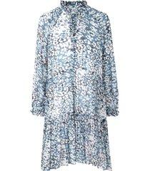 jurk met print clouds  blauw