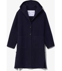 proenza schouler white label hooded doubleface coat navy/blue l