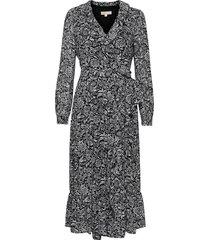 bicolor hippie wrap drs knälång klänning grå michael kors
