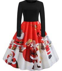 christmas santa claus print long sleeve dress