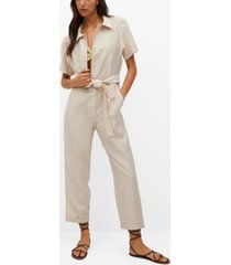 mango women's lyocell jumpsuit with belt