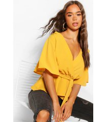 blouse met franjes mouwen, mosterd
