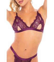 women's oh la la cheri zuria cutout bralette & open back thong set, size one size - purple