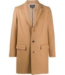 a.p.c. camel wool-cashmere blend coat