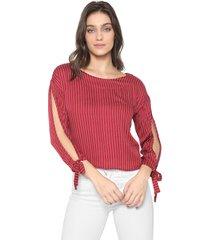 blusa gris listrada vermelha/branca