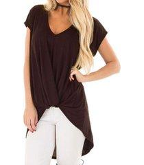 zanzea mujeres más pullover tee tapa de la camiseta de la túnica de la blusa beach party -marrón