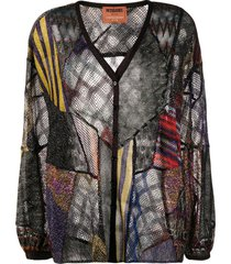 missoni patchwork knit lightweight cardigan - black