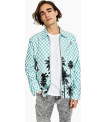 inc international concepts men's checkerboard palm-print harrington jacket, created for macy's