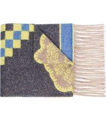 etro fantasia fringed cashmere scarf - pink