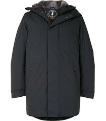 save the duck stone synthetic down and fur rain parka - black