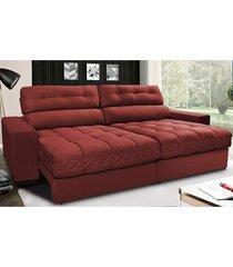 sofã¡ retrã¡til e reclinã¡vel com molas ensacadas cama inbox master 2,12m tecido suede vermelho - incolor - dafiti