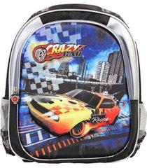 mochila infantil crazy car ls divisórias carros em alto relevo detalhes - unissex