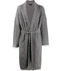 alanui longline cable knit cardigan - grey
