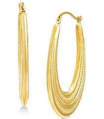 beaded oval hoop earrings in 14k gold