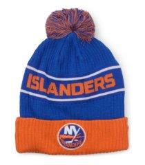 authentic nhl headwear new york islanders 2020 locker room pom knit hat