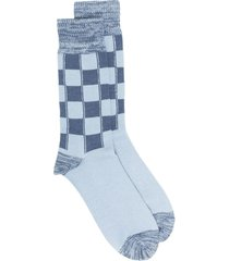ambush checked long socks - blue