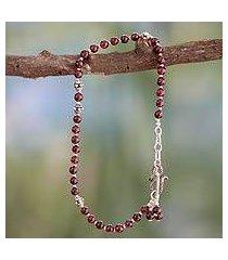 garnet anklet, 'scarlet raspberry' (india)