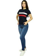 camiseta cuello redondo smith navy nuevo para mujer
